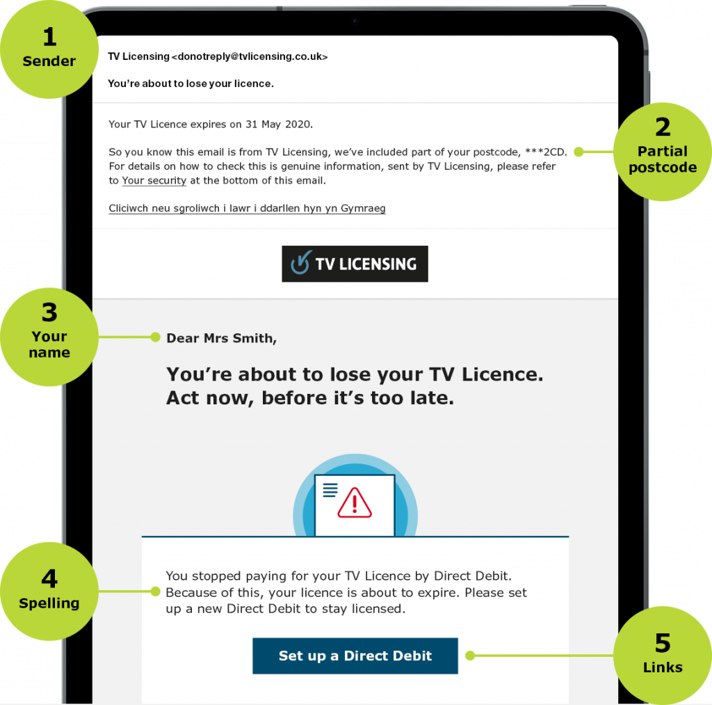 TV Licence anti scam email example